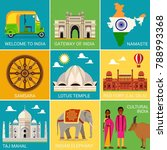 india travel set with... | Shutterstock .eps vector #788993368