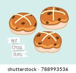 hot cross buns cute vector | Shutterstock .eps vector #788993536