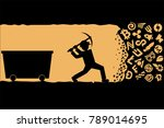 working with pickax in mine... | Shutterstock .eps vector #789014695