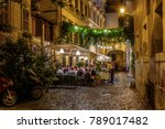 night view of old cozy street... | Shutterstock . vector #789017482