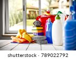 Small photo of Home cleaning background with open window and free space for your decoration