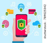 mobile security  data... | Shutterstock .eps vector #789025342