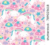 seamless pink unicorn pattern... | Shutterstock .eps vector #789025618