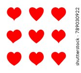 vector hearts icons set. | Shutterstock .eps vector #789030922