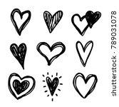 hand drawn doodle vector hearts ... | Shutterstock .eps vector #789031078