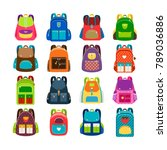 kids schoolbag set isolated on... | Shutterstock . vector #789036886