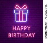 happy birthday neon glowing ... | Shutterstock .eps vector #789039646