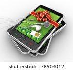 Black smartphones. This is detailed 3d render. - stock photo