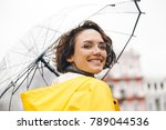 smiling woman in yellow...   Shutterstock . vector #789044536