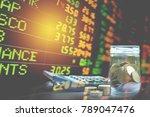 double exposure stock financial ...   Shutterstock . vector #789047476