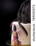 black birthday cake decorated... | Shutterstock . vector #789050572