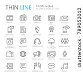 collection of social media thin ... | Shutterstock .eps vector #789052012