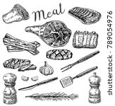 ink hand drawn meat products... | Shutterstock . vector #789054976