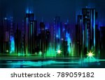 night city background  with... | Shutterstock . vector #789059182