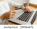 woman with laptop shopping...   Shutterstock . vector #789060676