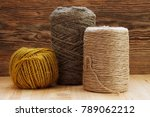 Twine Of Jute And Hemp On Wood...