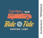 surfing woodie car retro style... | Shutterstock . vector #789066016