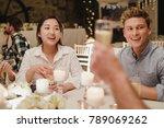 wedding guests are socialising...   Shutterstock . vector #789069262