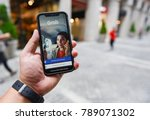 Small photo of CHIANGMAI, THAILAND - JAN 08,2018 :Brand new Apple iphone X with GRAB application display on mobile screen in male hand's while he calling some