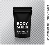 black foil body scrub pack... | Shutterstock .eps vector #789074395