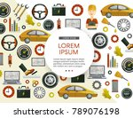 vector flat poster with car... | Shutterstock .eps vector #789076198