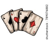four aces poker playing cards... | Shutterstock .eps vector #789076882