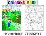 children coloring  color  black ... | Shutterstock .eps vector #789082468