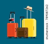 travel suitcases and hat camera ... | Shutterstock .eps vector #789087262
