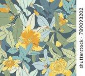 yellow flower seamless vector... | Shutterstock .eps vector #789093202