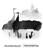 herons in the swamp stand in...   Shutterstock . vector #789098956