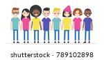set of characters holding each... | Shutterstock .eps vector #789102898