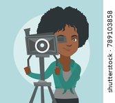 african american cameraman... | Shutterstock .eps vector #789103858