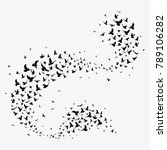 silhouette of a flock of birds. ... | Shutterstock .eps vector #789106282
