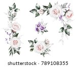 watercolor flowers. set floral... | Shutterstock . vector #789108355