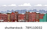 vector art frozen urban scene.... | Shutterstock .eps vector #789110032