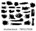 set of black vector bushy brush ... | Shutterstock .eps vector #789117028