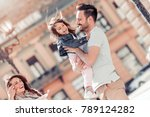happy family with one child... | Shutterstock . vector #789124282