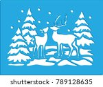 winter stencil card | Shutterstock .eps vector #789128635