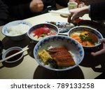 fresh japanese food in fish... | Shutterstock . vector #789133258