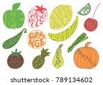 set with fruits and vegetables. ...   Shutterstock .eps vector #789134602