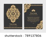 gold vintage greeting card on a ... | Shutterstock .eps vector #789137806