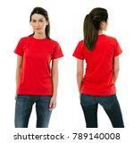 Photo of a beautiful brunette woman posing with a blank red t-shirt, ready for your artwork or design.