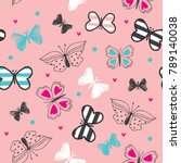 seamless pattern with butterfly ... | Shutterstock .eps vector #789140038
