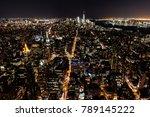night skyline of new york city. ... | Shutterstock . vector #789145222