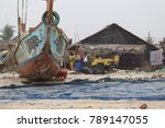 view of painted wooden boats... | Shutterstock . vector #789147055