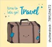 travel bag illustration hand... | Shutterstock .eps vector #789154672