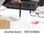 Small photo of Businessman focus Summary report and market plan analyzing financial market plan Review accounting data and calculate production income to next years.