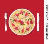 pizzeria concept. pizza in plate   Shutterstock .eps vector #789156856