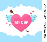 heart with wings and arrow.   Shutterstock .eps vector #789156862