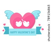 heart with wings and lovebirds. | Shutterstock .eps vector #789156865